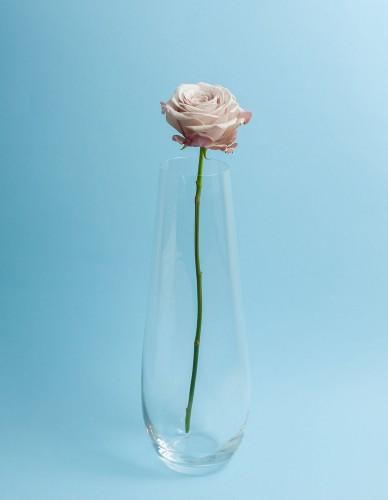 Sklenená číra váza s jemným, modoreným dizajnom od Bohemia Crystall Glass s kvetom